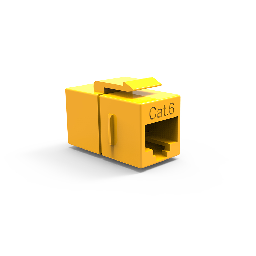 Cat.6 Inline Coupler w/Keystone Latch Yellow