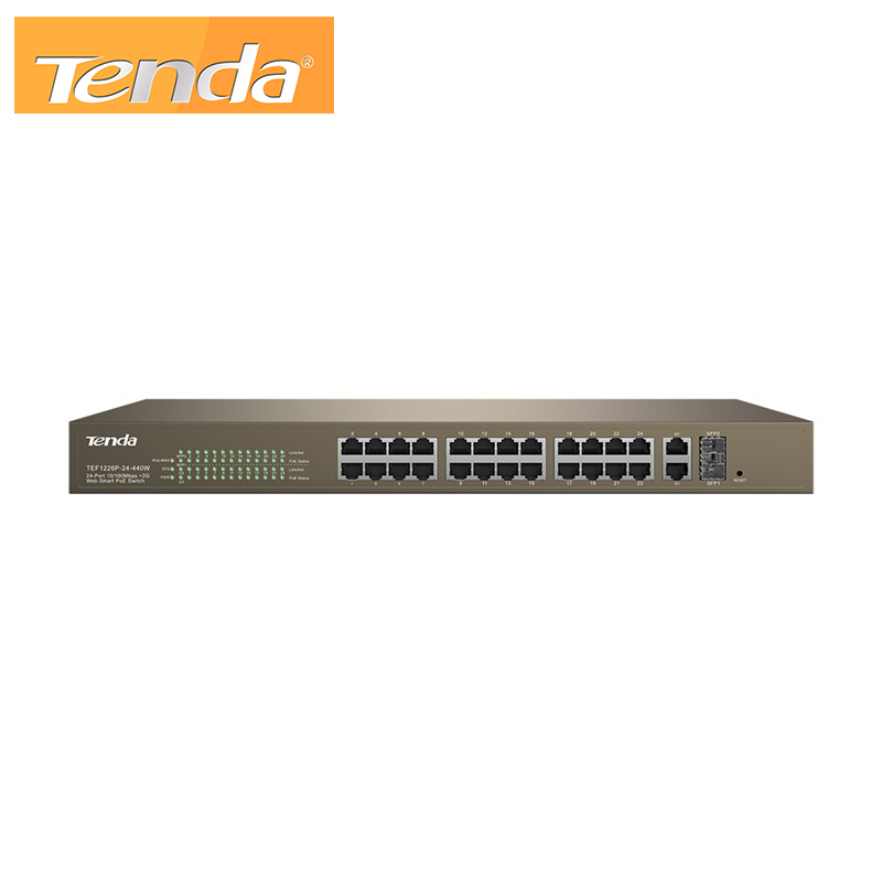 24-Port 10/100Mbps + 2 Gigabit Web Smart PoE Switch Tenda TEF1226P-24-440W