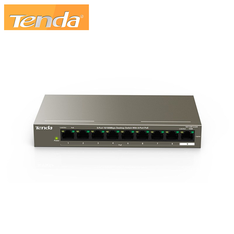 9-Port 10/100Mbps Desktop Switch With 8-Port PoE Tenda TEF1109P-8-63W
