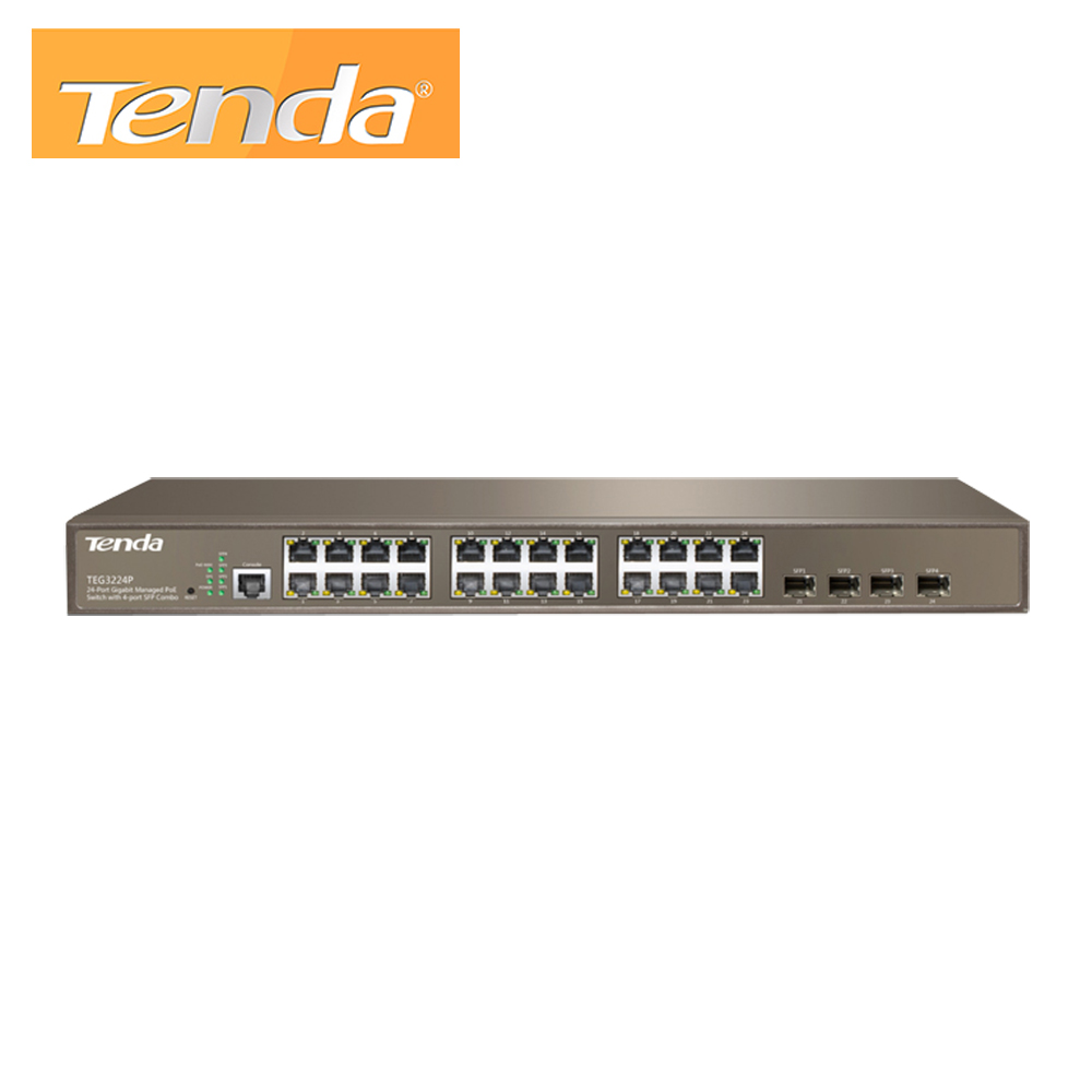24-Port 10/100/1000Mbps with 4 Shared SFP PoE Managed Switch Tenda TEG3224P