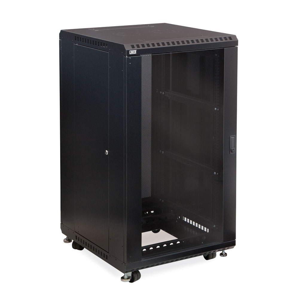 "22U Server Rack, Glass Front/Vented Rear, 24"" Depth"