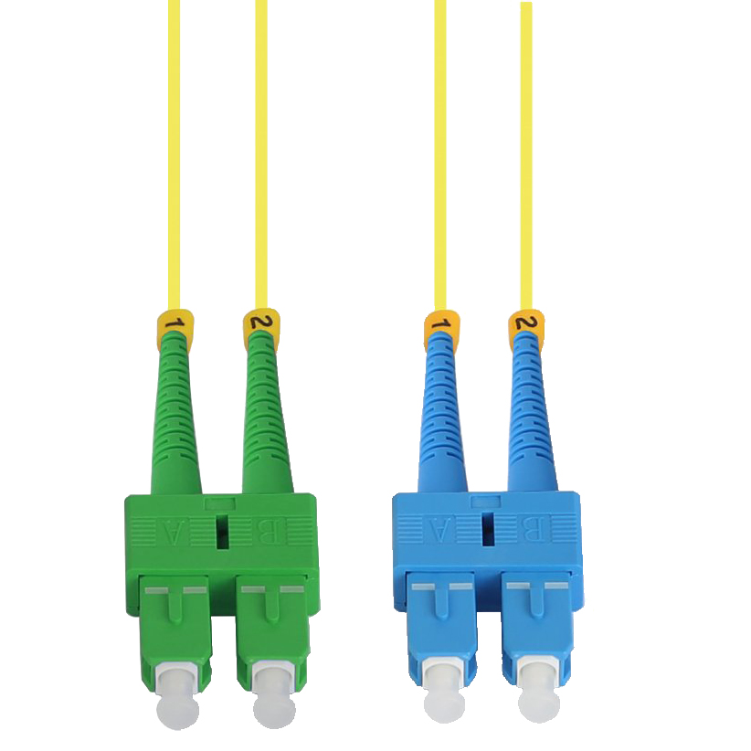 1m SC/UPC-SC/APC Singlemode Duplex OFNR Fiber Optic Patch Cable
