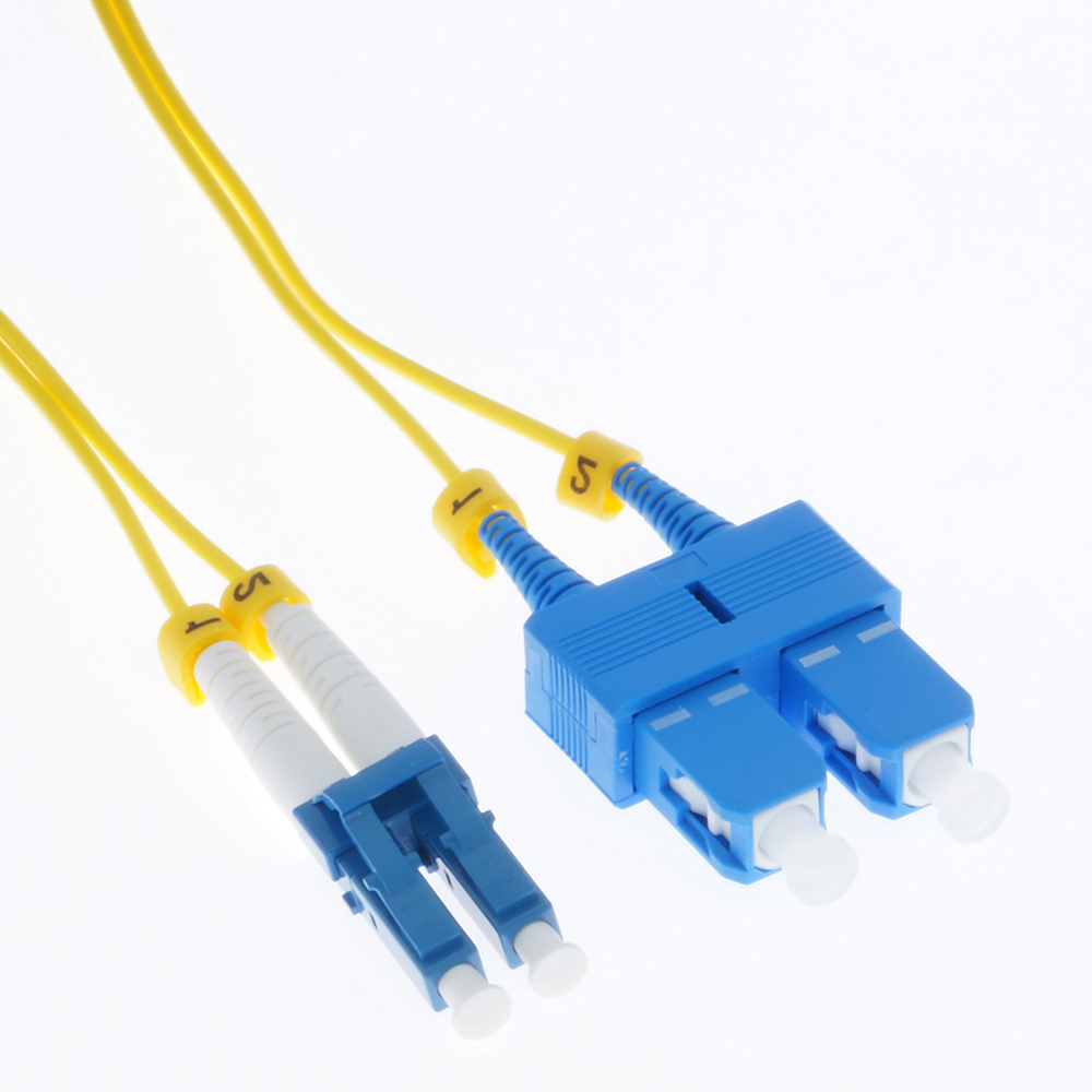 1m LC/UPC-SC/UPC Singlemode Duplex 1.6mm Slim Fiber Optic Patch Cable with Short Boot