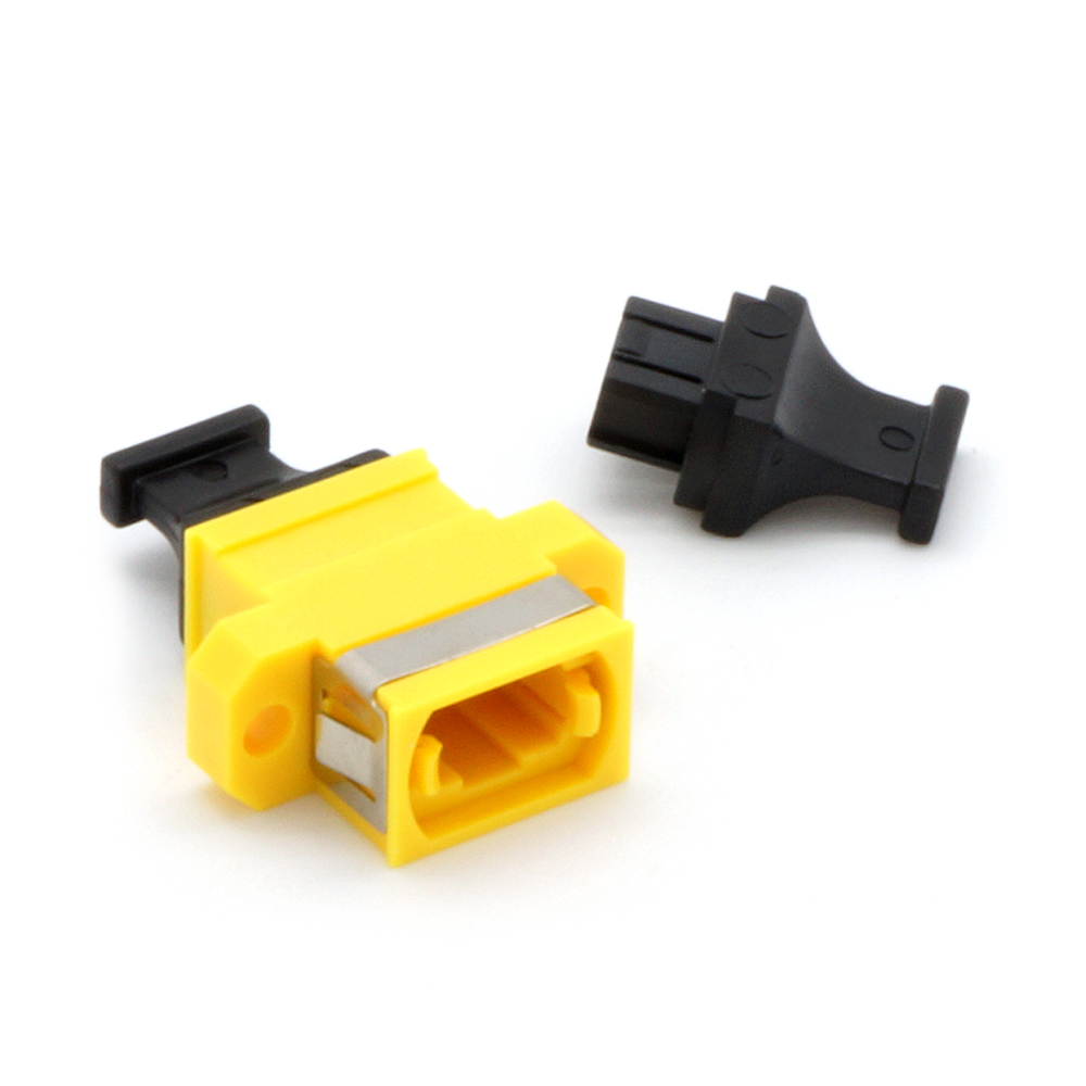 MPO Singlemode Adapter Key-Up/Key-Down with Flange Yellow