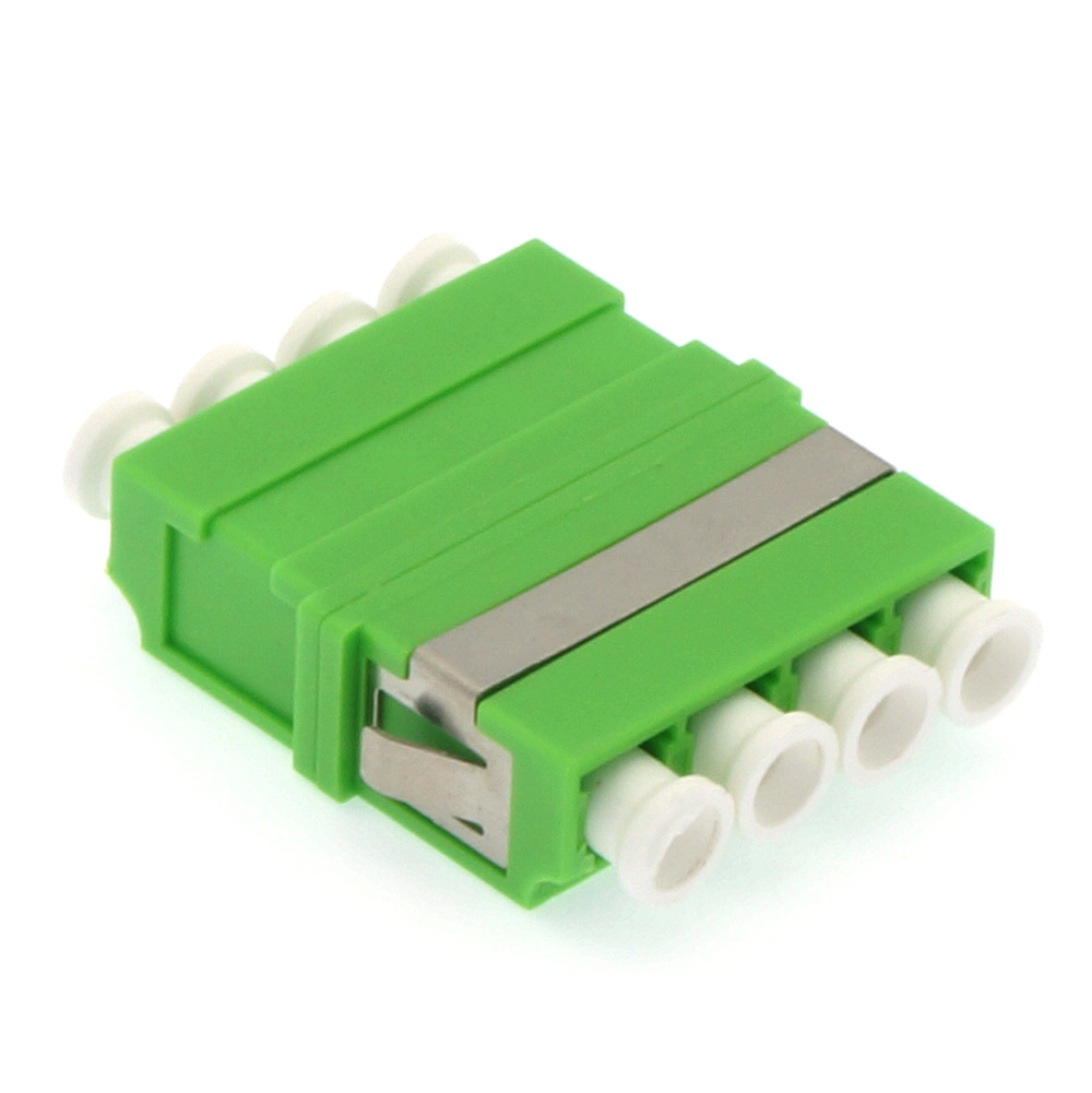 LC/UPC Singlemode Quad Adapter without Flange Green