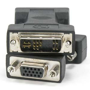 DVI-A Male (12+5) / VGA (DB15HD) Female Adapter Gold Plated
