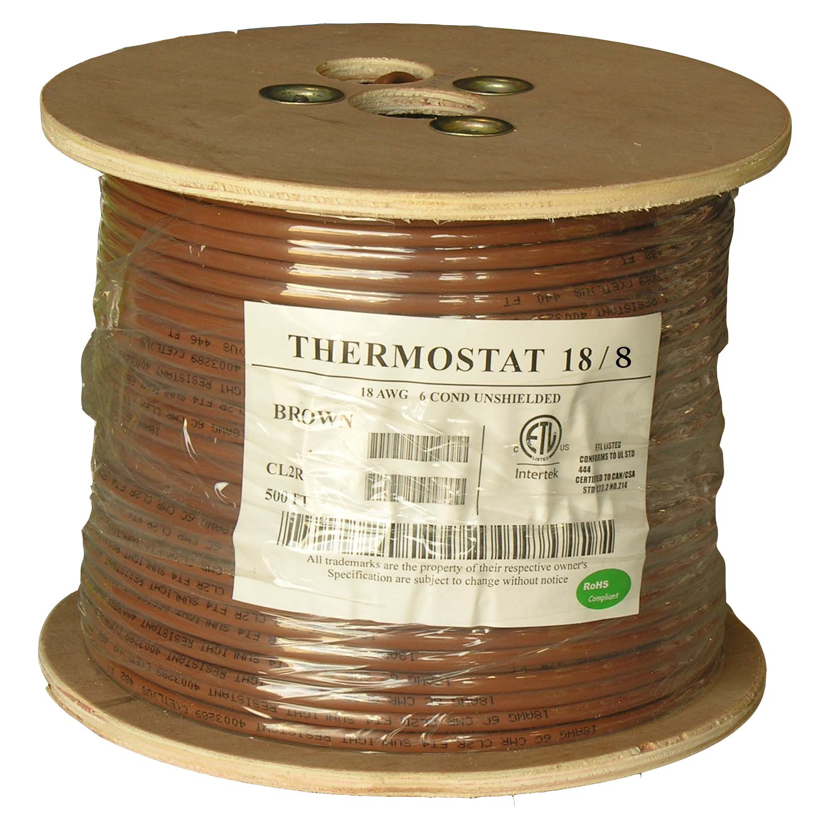 250Ft 18/8 Unshielded CMR Thermostat Cable Solid Copper PVC
