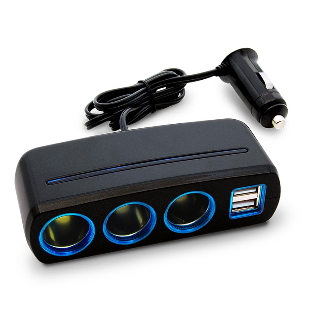 3-Socket Cigarette Lighter Car Power Adapter with 2 USB Charging Ports 3.1A