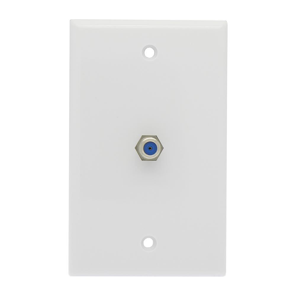 F Coupler Wall Plate White 3GHz Rated
