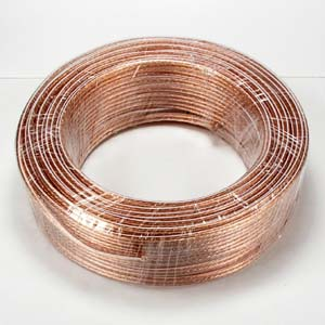 100Ft 16AWG/2 Polarized Speaker Wire Coil CCA Clear Jacket