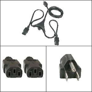 6Ft PC Y Power Cord 5-15P to C-13 Black SJT 18/3