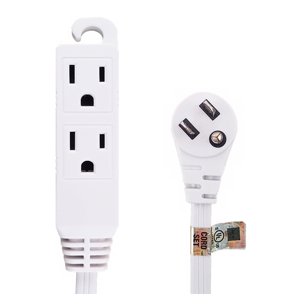 12Ft 16/3 Grounded 3-Outlet Flat Angle Power Extension Cord White