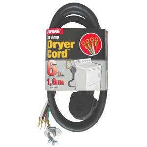 6Ft 10/4 30 Amp Black 4-Wire Dryer Cord