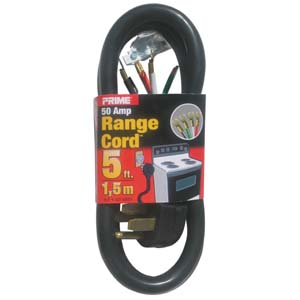 5Ft 6/2 & 8/2 50 Amp Black 4-Wire Range Cord