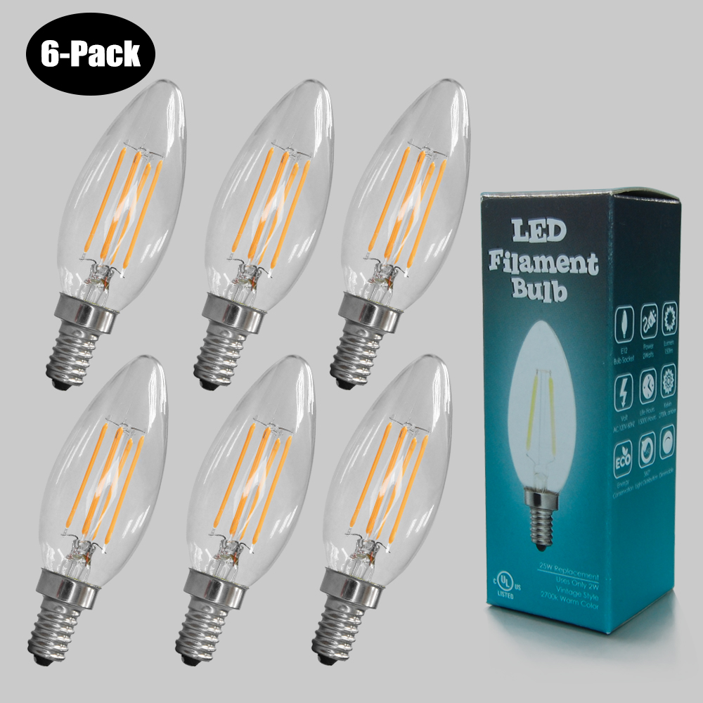 6-Pack 4W LED Filament  Candle Bulb 2700K Clear 25W E12 L41201