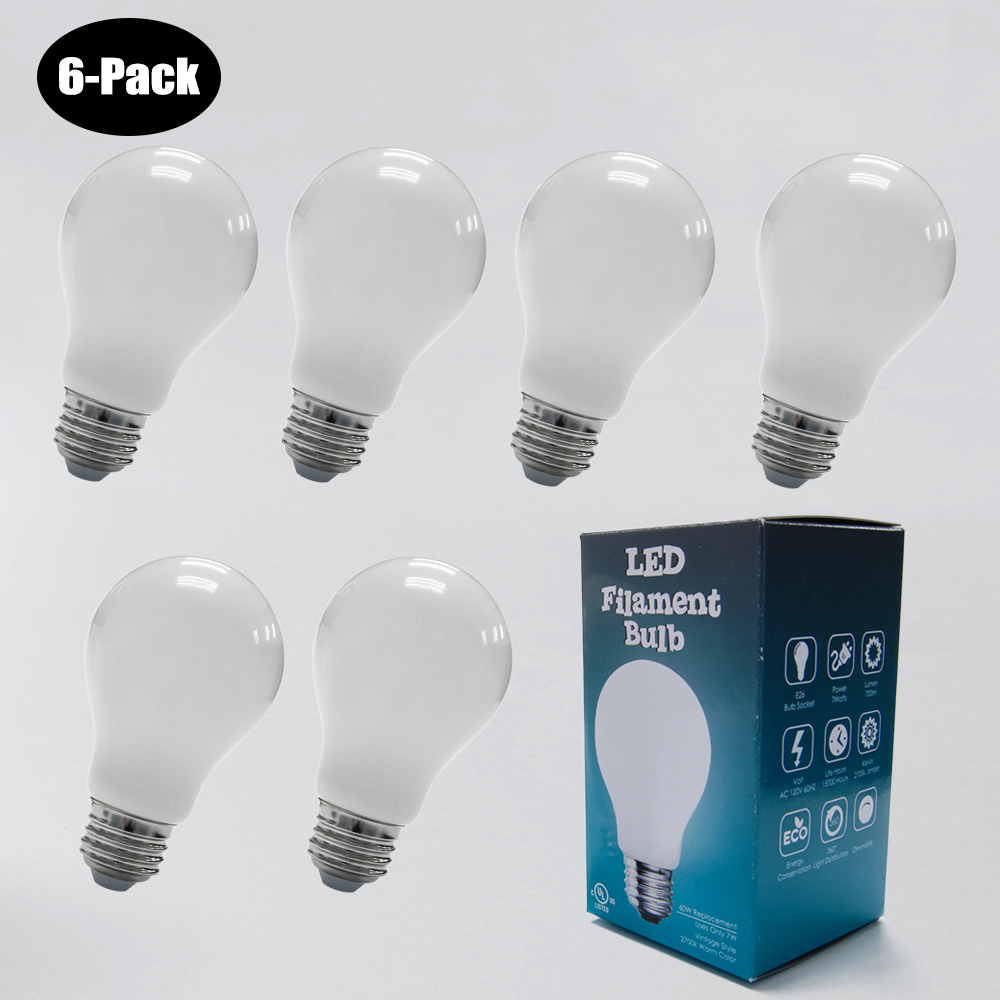 6-Pack 7W LED Filament Bulb 2700K Milky 60W Equivalent E26 Socket
