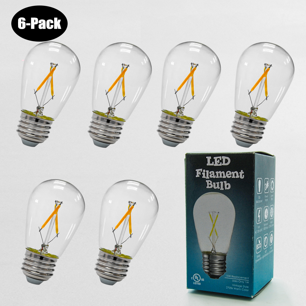 6-Pack  1W LED Filament Bulb 2700K Clear 10W Equivalent E26 L12601