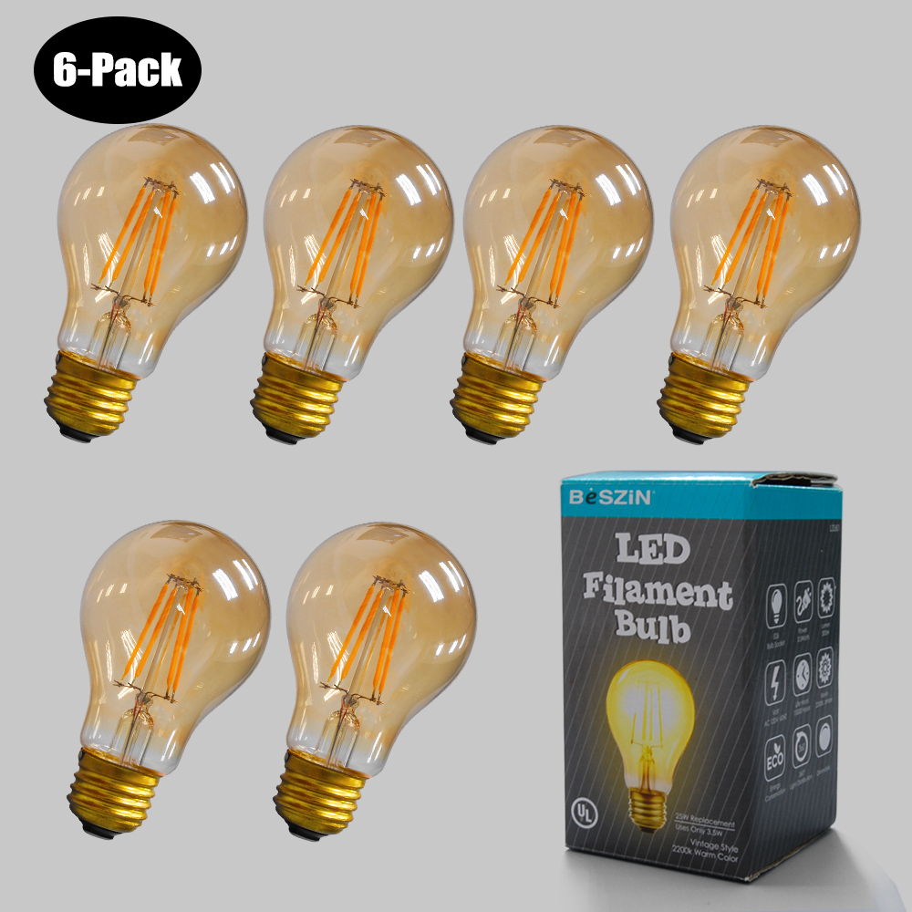 6-Pack 4W LED Filament Bulb 2200K Warm 25W E26 L32601