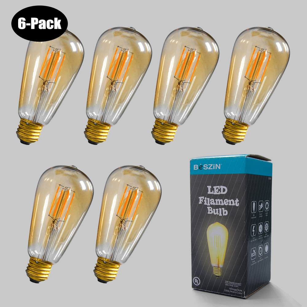 6-Pack 3.5W LED Filament Bulb Edison Style 2200K 25W Dimable E26 L32602