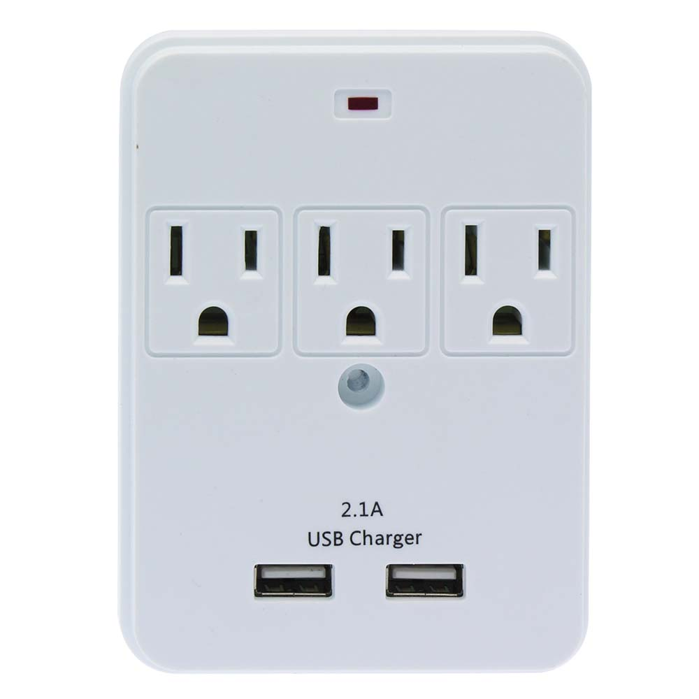 3-Outlet Surge Protected Wall Tap with 2 USB Charging Ports (2.1A)