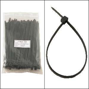 "8"" Nylon Cable Tie 50lbs Black 100pk"