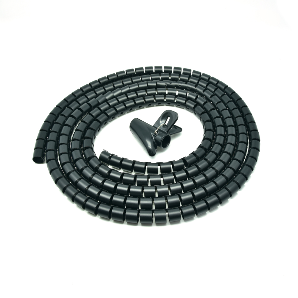 "Spiral Cable Zip Wrap Black 20mm x 1.5m (0.8"" x 4.92Ft)"