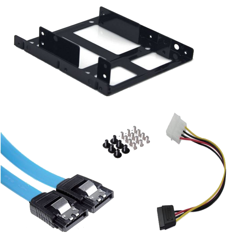"2.5"" to 3.5"" HDD/SSD Internal Adapter Mounting Kit w/ 1 SATA Power & 2 SATA III Cables"