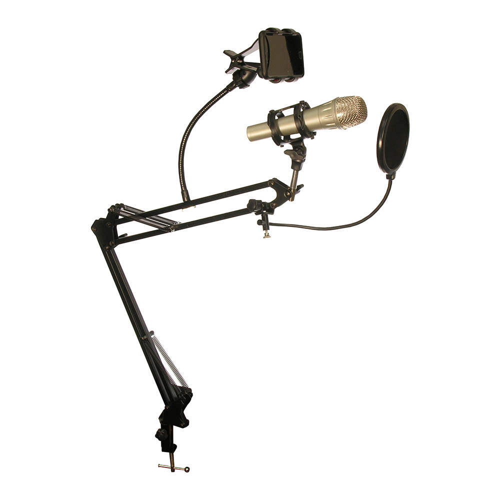 Deskmount Microphone Stand With Rotating Phone Holder & Pop-Filter MDS-28